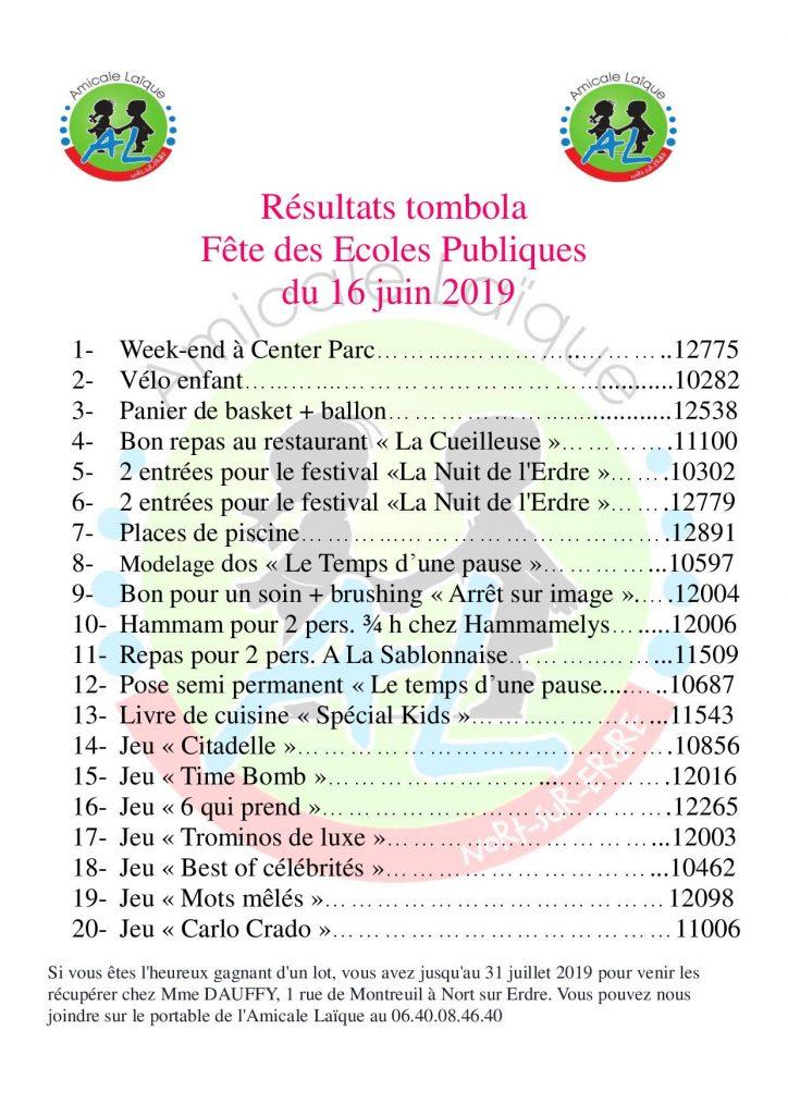 RÉSULTATS TOMBOLA FÊTE DES ECOLES PUBLIQUES 2019